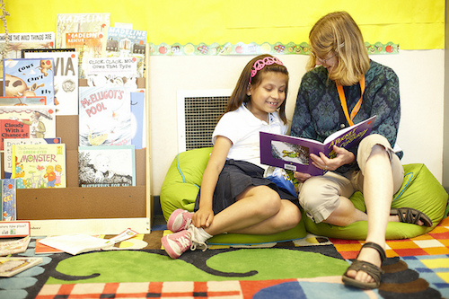 A student with a reading partner
