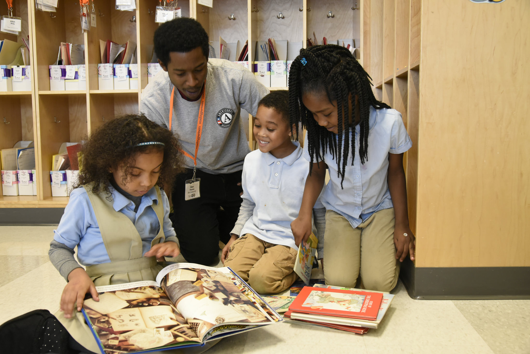 AmeriCorps member with students
